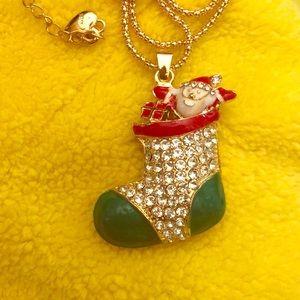 Betsey Johnson Necklace Christmas Stocking Santa